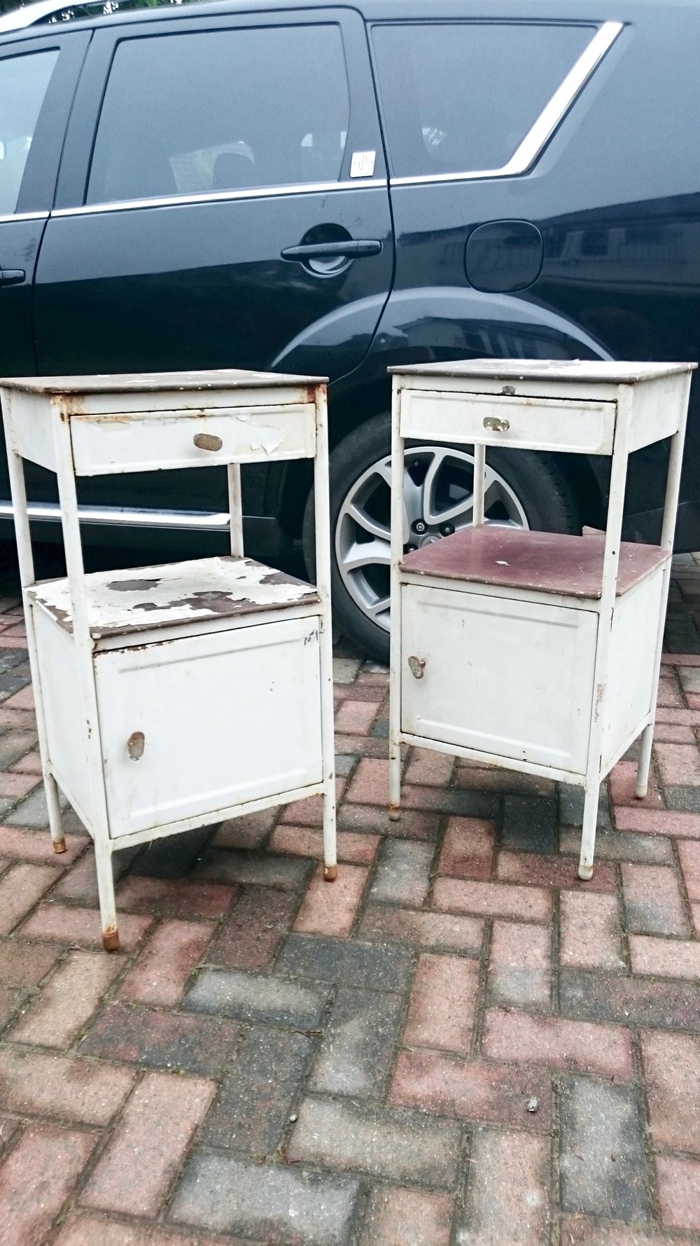 BEFORE - These vintage hospital tables were found on ebay and upcycled into eye-catching bedside tables for a tweenager's bedroom in Tunbridge Wells Kent - Interior Design by Smartstyle Interiors