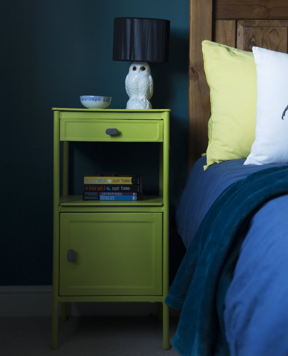 AFTER - a pair of vintage hospital tables found on ebay were upcycled into eye-catching green bedside tables for a tweenager's bedroom in Tunbridge Wells Kent - Interior Design by Smartstyle Interiors
