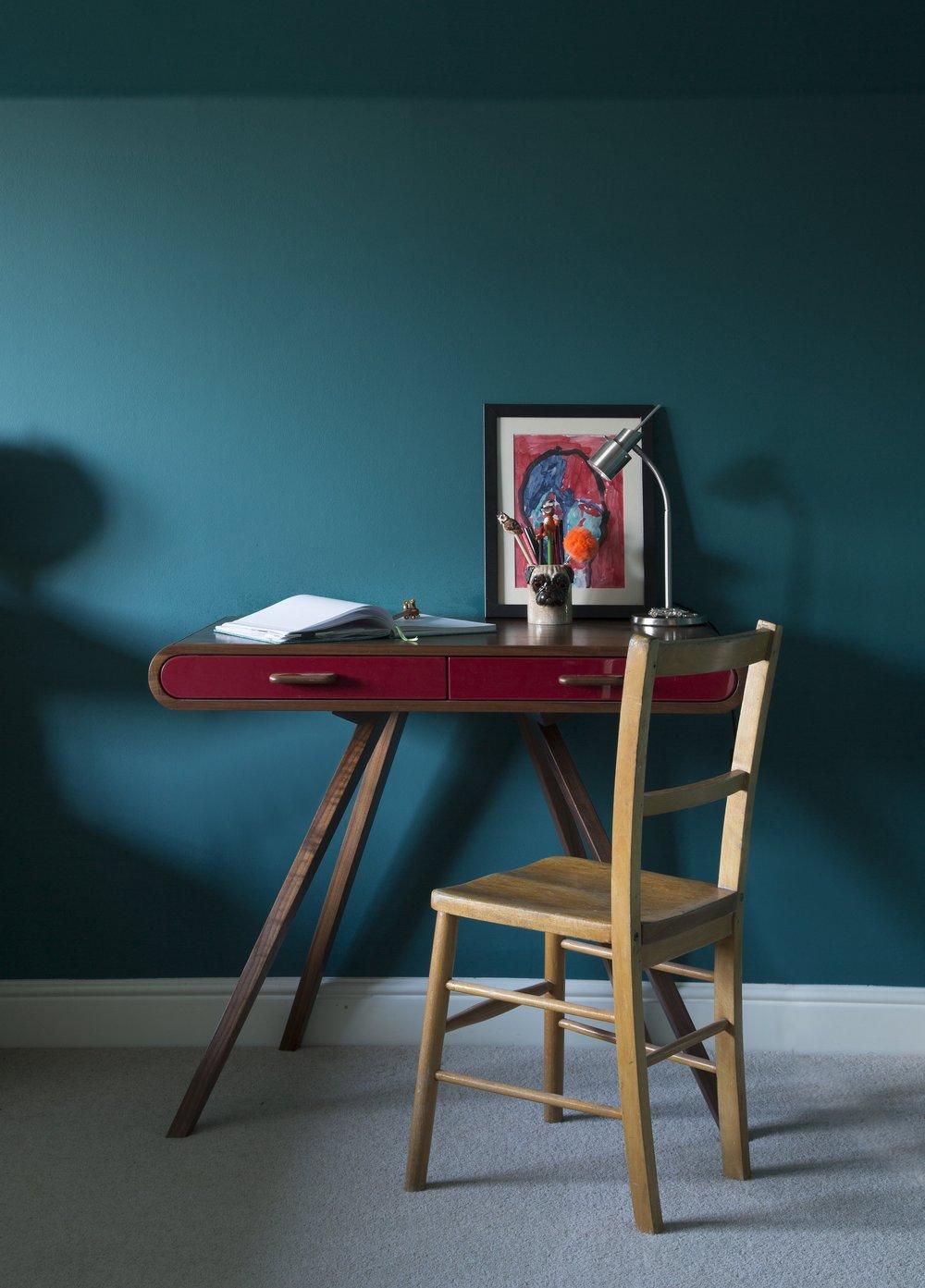 A Made.com desk looks all grown up in this tweenager's bedroom in Tunbridge Wells Kent - Interior Design by Smartstyle Interiors