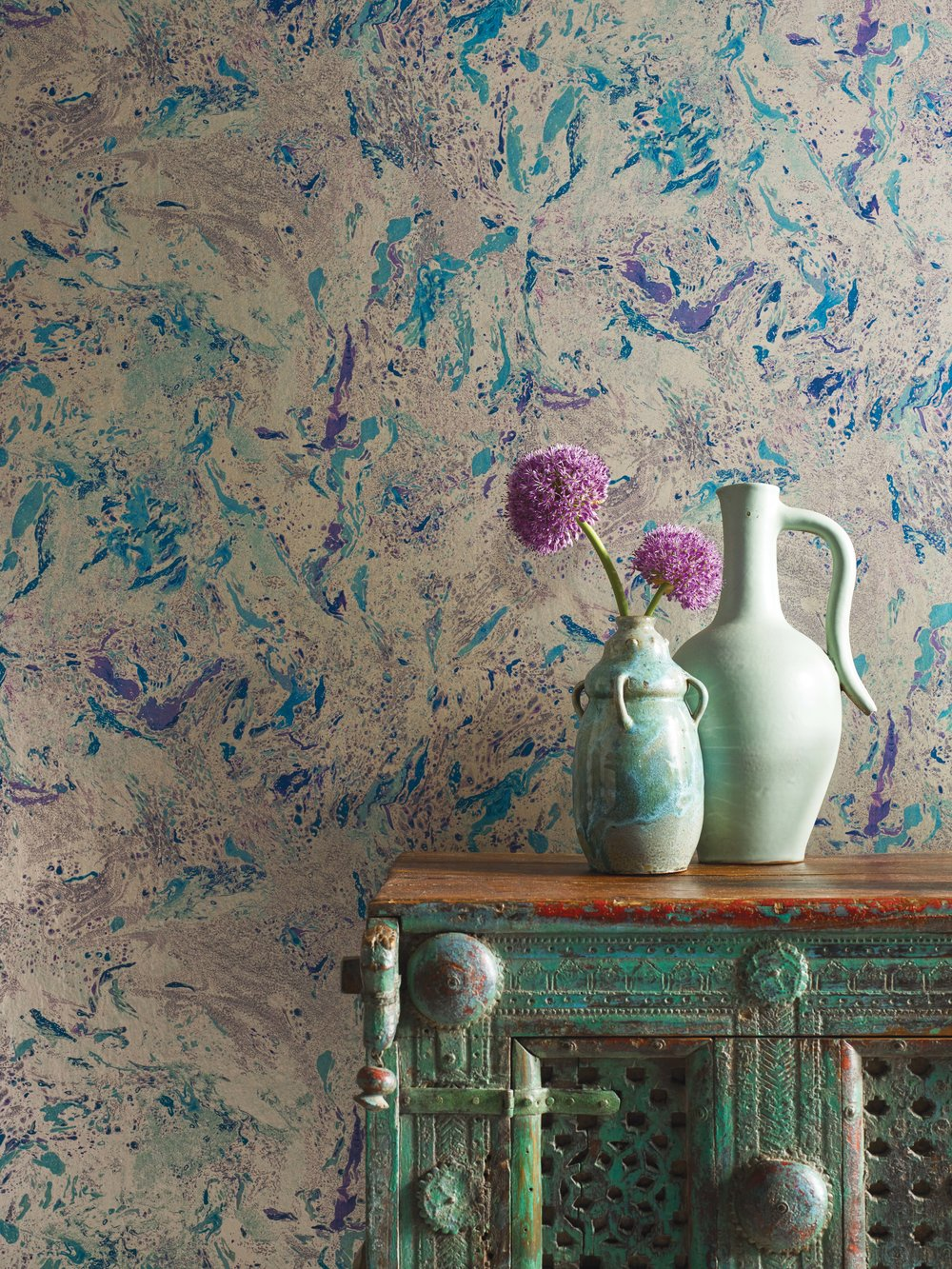 Matthew Williamson at Osborne & Little Makrana Wallpaper gives your walls a sleek marble finish - Spring Design Trends by Phoebe Oldrey Interior Design.jpg