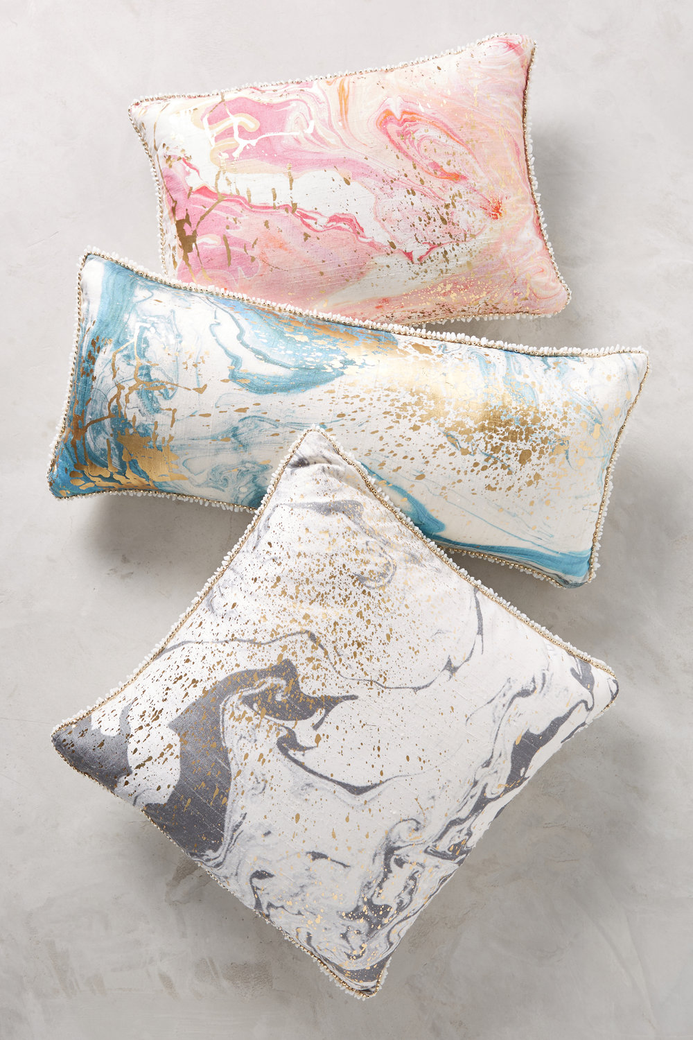 Anthropologie Marbled Cosima Pillow gives you the great look of marble with an extra plush feel - Spring Design Trends by Phoebe Oldrey Interior Design.jpg