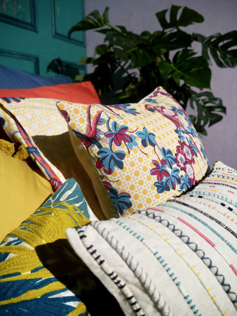 House of Fraser bedding is looking ready for spring with floral pillows and striped sheets - Spring Design Trends by Phoebe Oldrey Interior Design.jpg