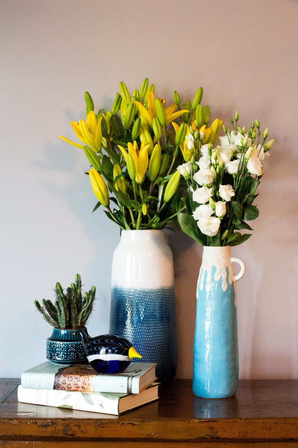 Modern-vases-like the Elmer vase from-Habitat-mix-well-with-vintage-ceramics---Interior-Design-by-Phoebe-Oldrey-