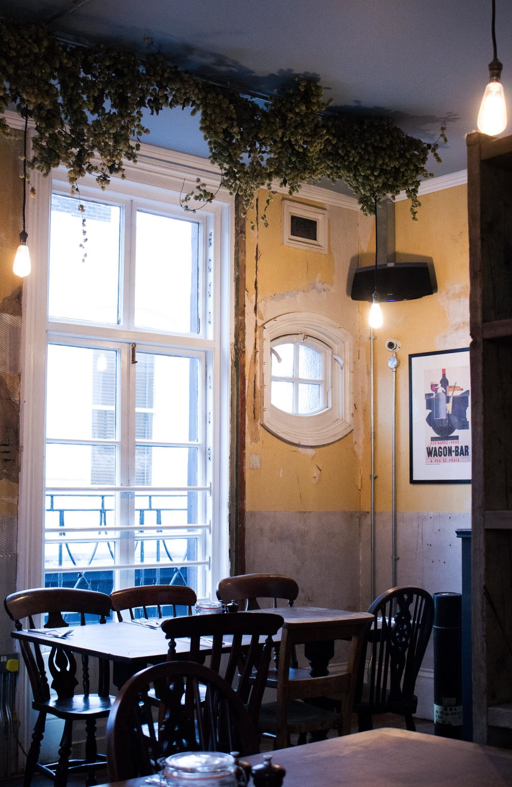 Framptons in Tunbridge Wells – Hops hang from the ceiling of the dining room to create an intimate feel to this airy space – Phoebe Oldrey Interior Design.jpg