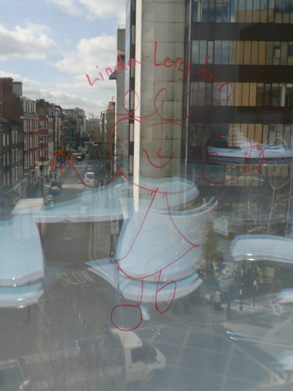 A Playfull Doodle on the Window of a Meeting Room at The Sainsbury Wellcome Centre