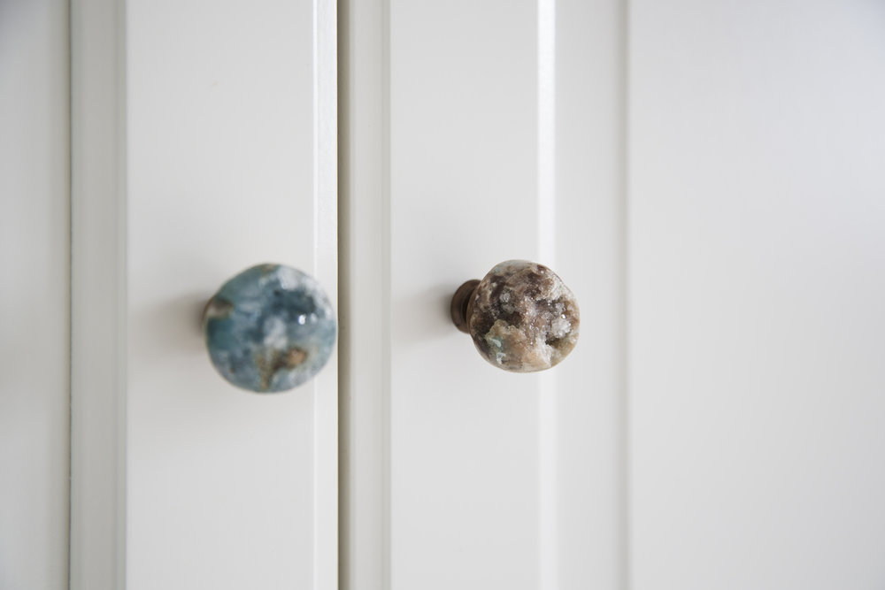 Clever gemstone knobs were used in a bedroom design in an arts and crafts family home in Sevenoaks Kent - Interior Design by Phoebe Oldrey of Smartstyle Interiors