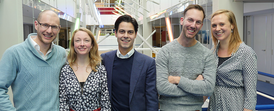 The five winners of the Nudge Leadership Challenge 2014 (FLTR): Matthias Veltkamp, Isolde van Meerwijk, Rob Jetten, Thomas Hermans and Marloes van Kats