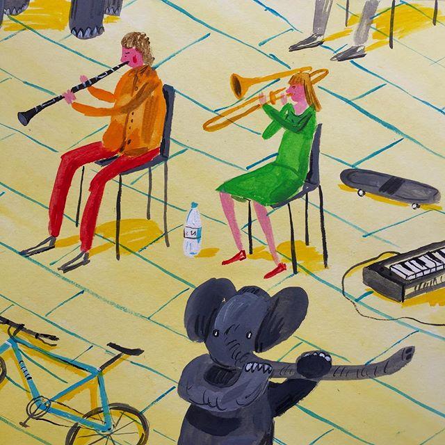 Elephant flute fail. . . . . . #painting #illustration #elephantfail #elephant #yellow #muzik #cute #soundcloud #students #mutant #reallygood #acrylic #summer #sk8t #rightnow #keyboard