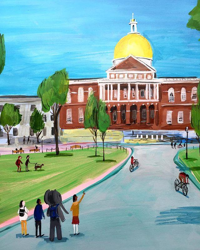 Look kool. . . . . . .#sightseeing #elephant #summer #goingon #boston #gold #dong #orbz #illustration #painting #landscape #tourz #cuteanimals