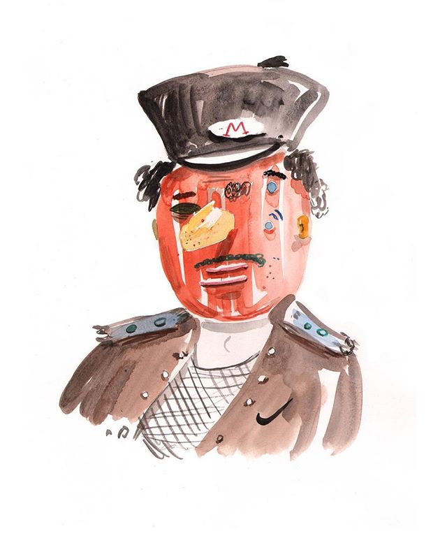 'in paper we trust' @the.dot.project opening this Thursday - leather hat orange face . . . . #arts #face #mandem #painting #orangeface #illustration #fulham #leather #hat #hot #nike #stringvest #funboy #exhibition #paintballs
