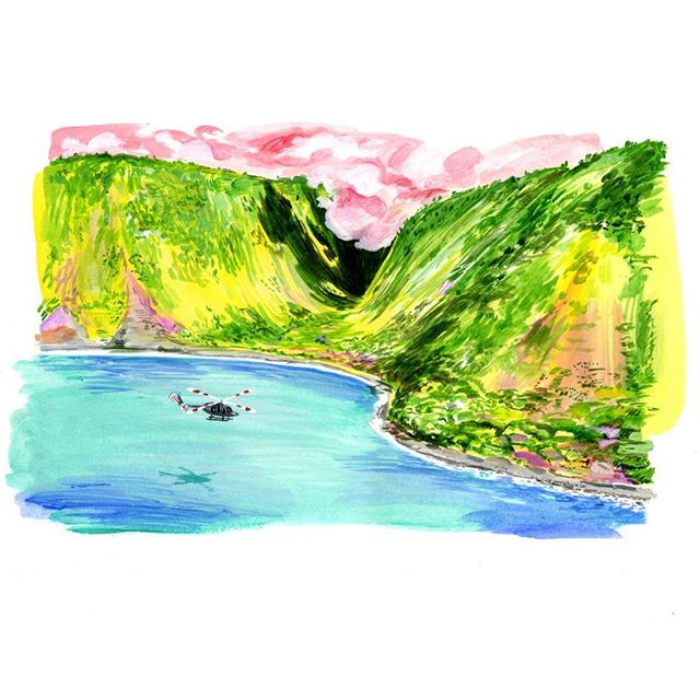 Helicopter pink clouds. . . . . . #lifestylz #art #illustration #hawaii #painting #helecopter #bluesea #doit #bosh #yellowhillz #illustration #mountains #cute #clouds
