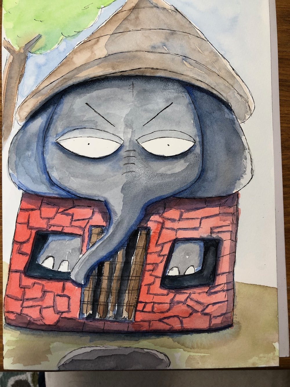 Igor the Elephant is grumpy. And he is too big for his house so he sometimes wears his roof as a hat.