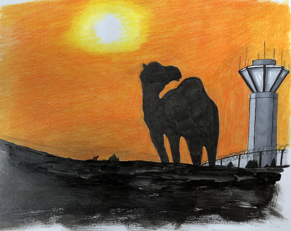 This camel looking over its shoulder at a control tower is the beginning of some illustration work that I plan to do for my collection  waiting for the Enemy . I'm not sure about the style yet, but this is a starting point.