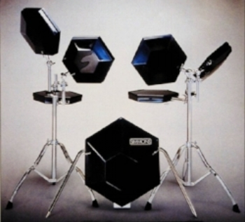 "Classic Simmons electronic drum kit. Snare goes ""BOOOSH!""."