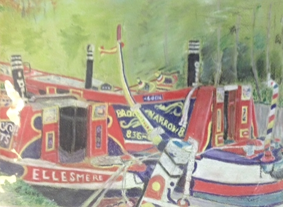 Narrowboats - pastel
