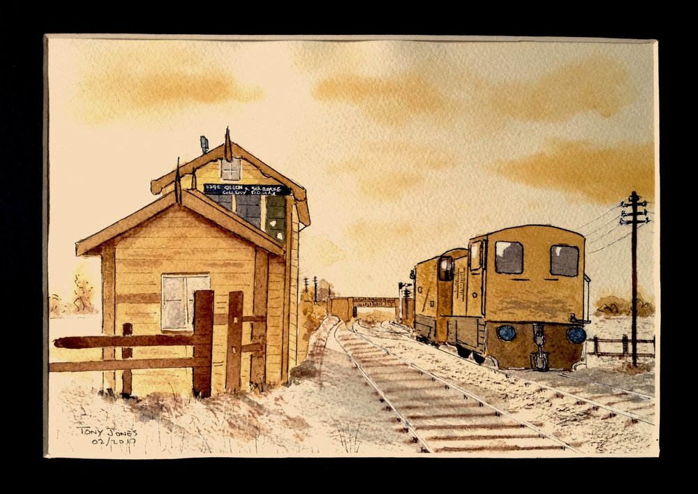 Tony Jones Edge Green and Golborne Collery sidings in pen and wash