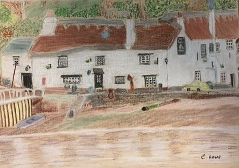 Cottages in Cornwall-pastel