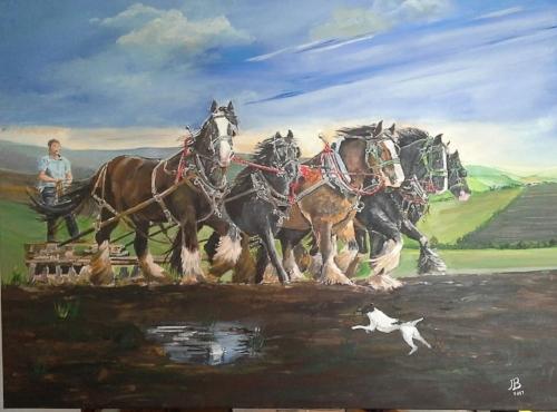 Janet Bilsbury - Team of Horses - Acrylic