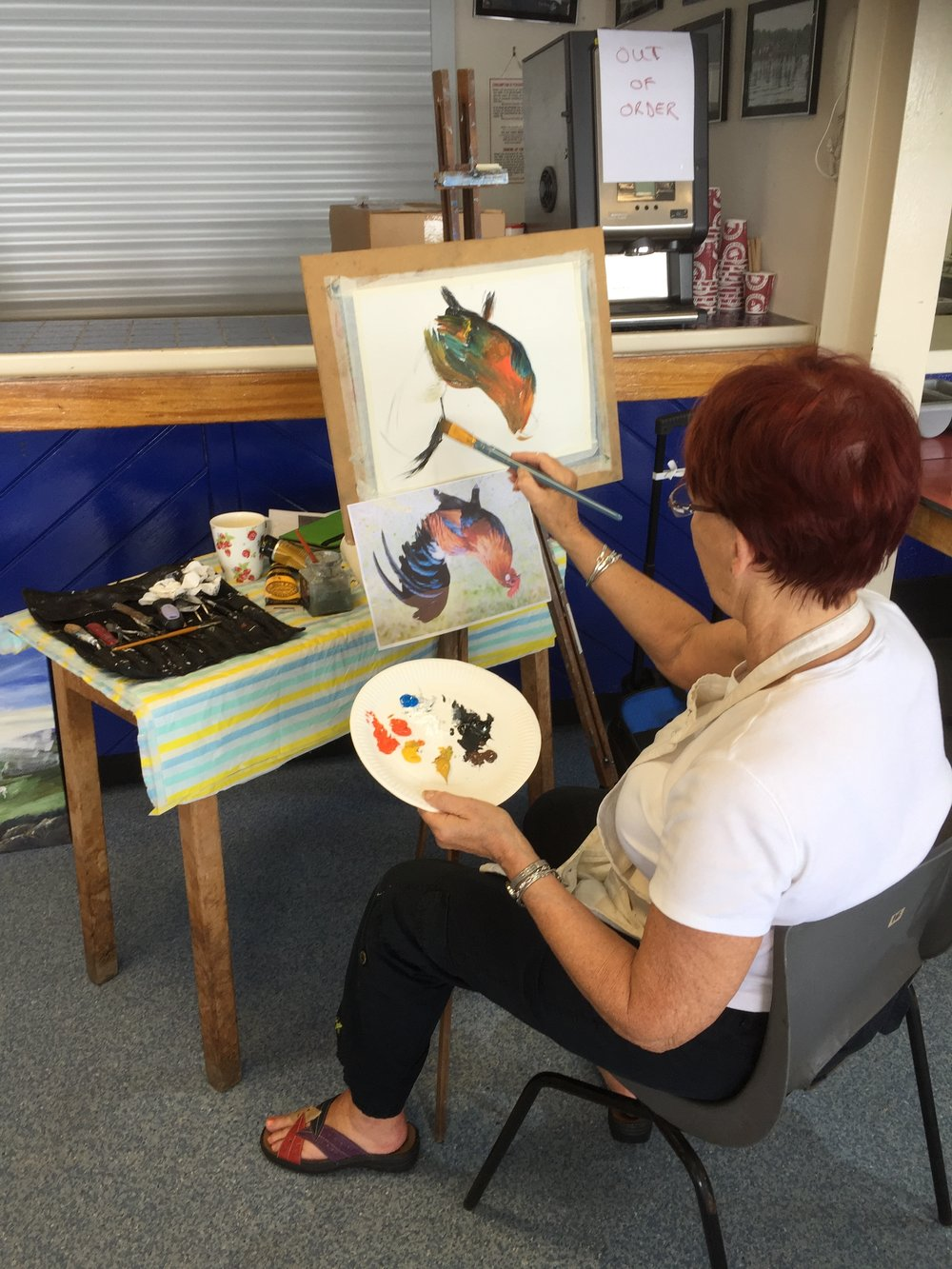 Janet painting hen.JPG