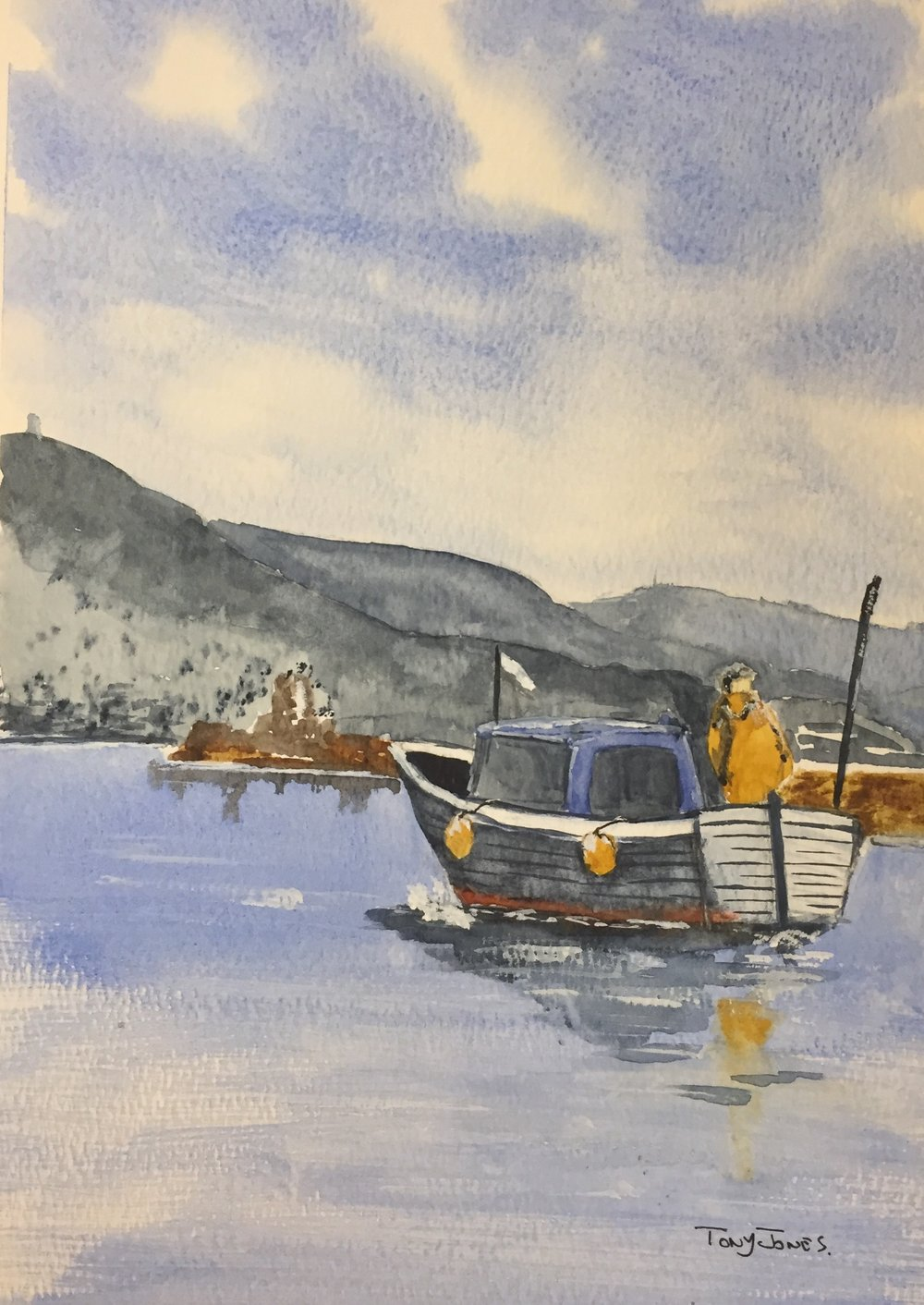 Into harbour - Watercolour