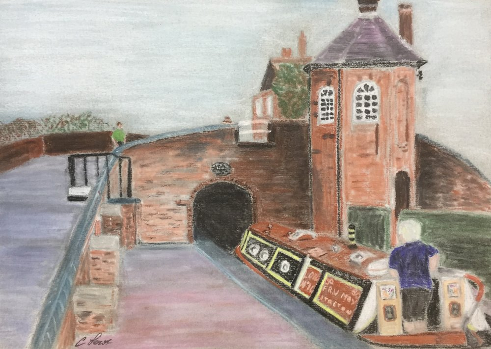 Canal scene - Pastel pencil.