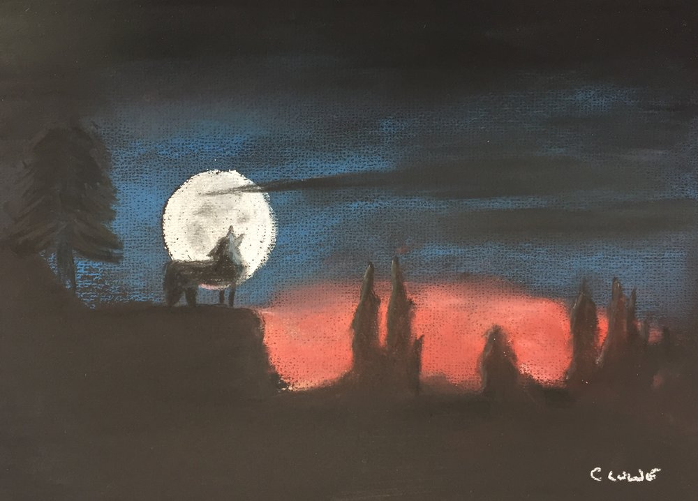 Wolf howling at the moon- Pastel.