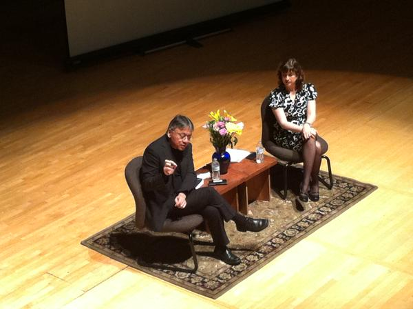 "Interviewing Nobel Laureate Kazuo Ishiguro at the Lighthouse event, ""Inside the Writer's Studio."" Quietly losing my mind."