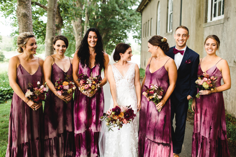 Lexi hand dyed the custom silk dresses for her bridesmaids. Photo by Emily Kirke Photography.
