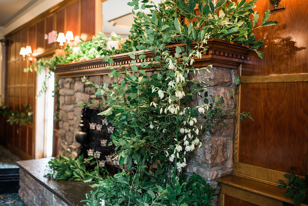 The Fox Hill Inn, with a dressed up mantel. Photo by RC Zajac Photography.