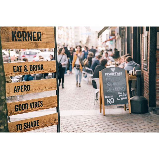 Sunny weather ? TERRACE! ☀️ @kornerixelles is the place to be! Come with friends and have a good time🍸