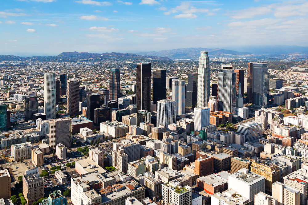 Aerial View of Los Angeles Skyline