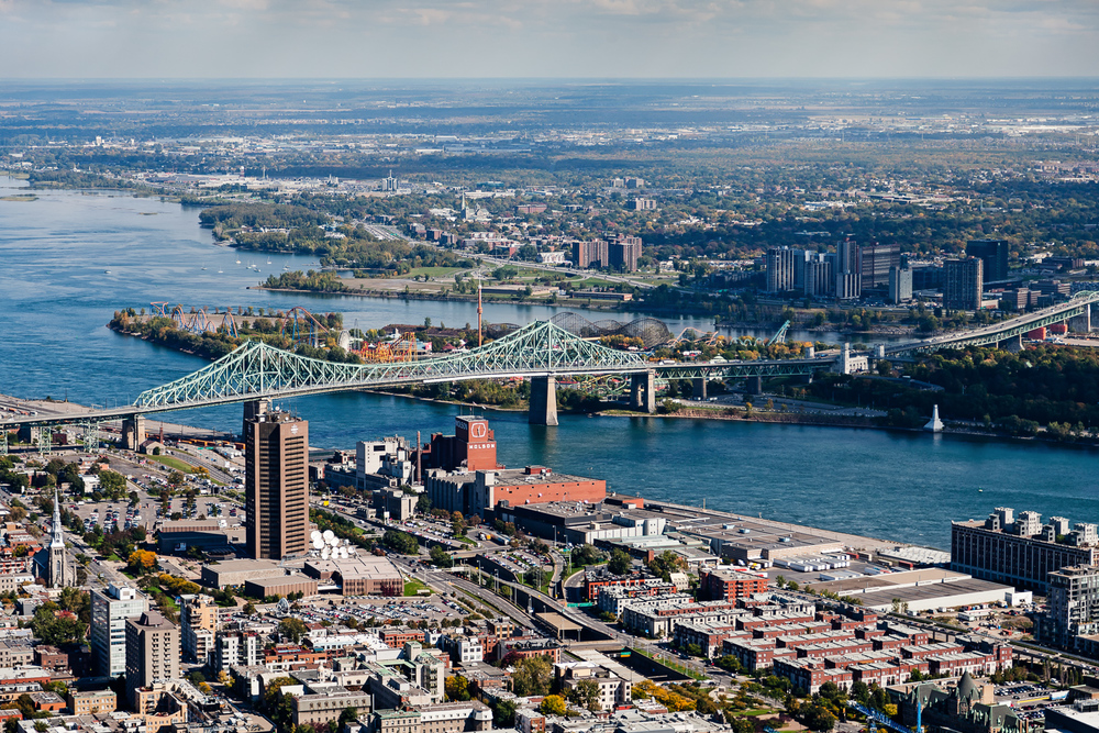 Aerial View of Jacques Cartier Bridge in Montreal
