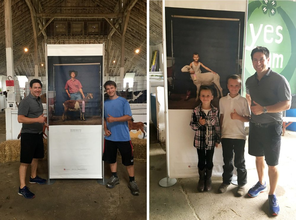 4-H kids at the Mahnomen County Fair with R. J. Kern at the travelling community exhibition supported by the Minnesota State Arts Board Artist Initiative Grant.