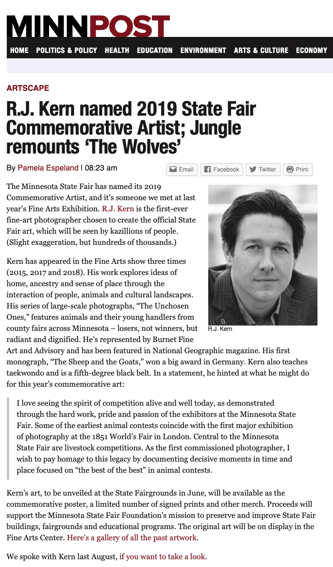 """R. J. Kern named 2019 State Fair Commemorative Artist,"" by Pamela Espeland, MinnPost, dated Jan 30, 2019."