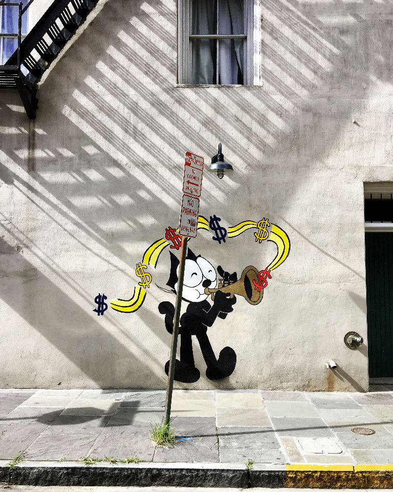 Musical Felix The Cat street art. New Orleans, LA