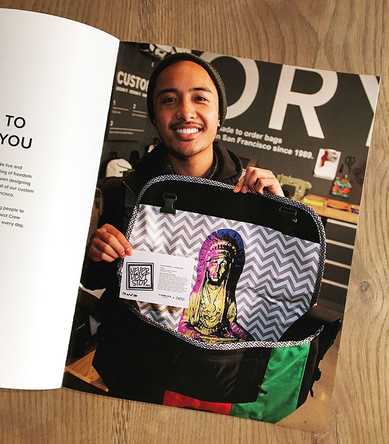Timbuk2 employee handbook featuring Blush's photography.