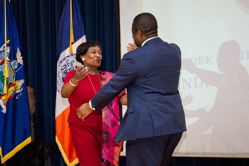 New York State Senate Majority Leader Andrea Stewart-Cousins congratulates Senator Brian Benjamin.