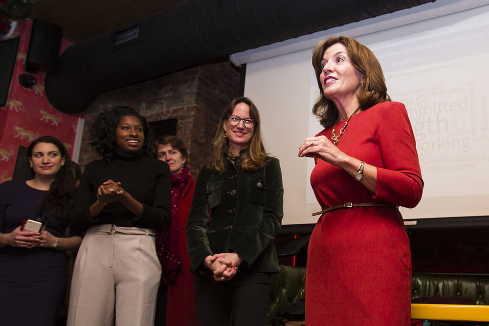New York Lt. Governor Kathy Hochul shares insights from her dynamic political career with Emerge members. New York, NY. 2017