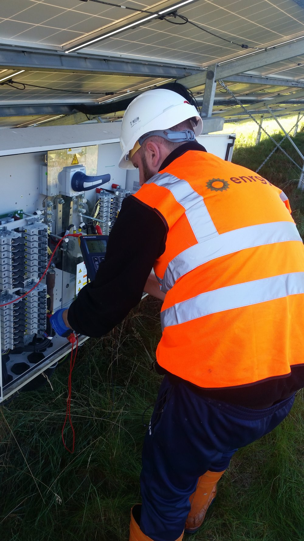- Field engineer undertaking annual DC testing on a 32 way string combiner box. This 28MW site has 140 such boxes to test.