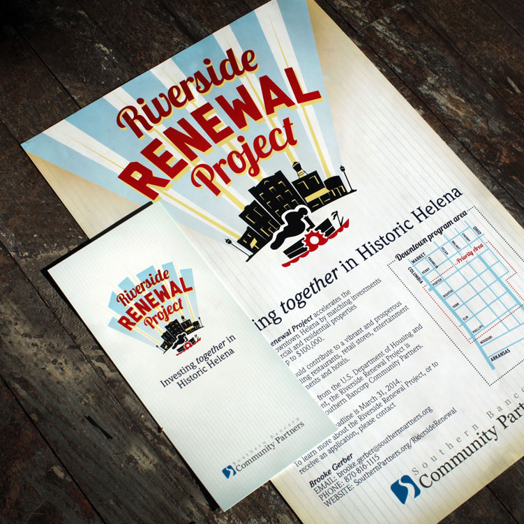 Southern Bancorp Community Partners  / Riverside Renewal Project Logo, Rack Card, Poster, + Banner