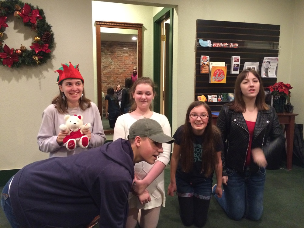 Some Acting students share their Christmas machine...toy assembly line.