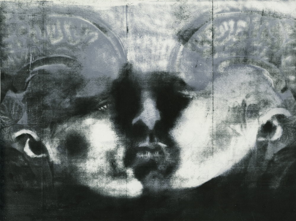 """The Scan and the Mirror,"" Stone lithography and silkscreen, 22"" x 28,"" 2013"