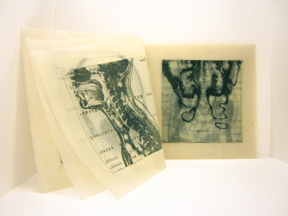 """The Importance of Dualism,"" Photo intaglio and encaustics, 9"" x 10,"" 2014"
