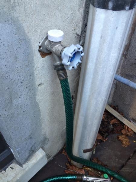 Outside faucet.