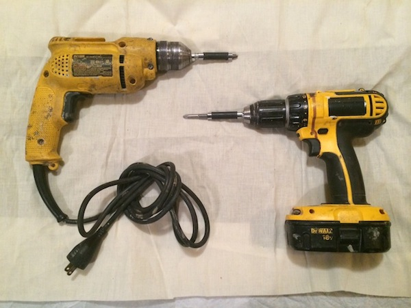 HM's very own corded and cordless drills. But if you only have one, it should be corded.
