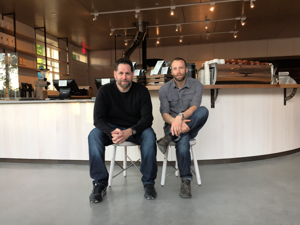 Doug Finley and Andrew Wentzel.  Owners of Moja Coffee