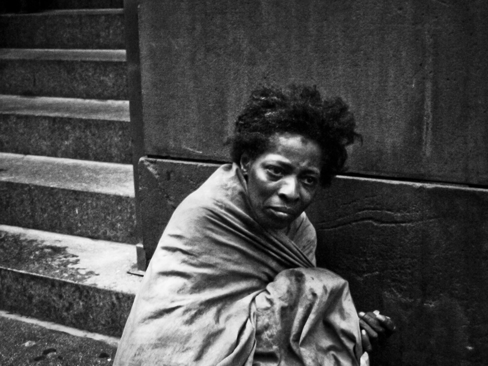 Homeless women in 5th Ave, Manhattan NY