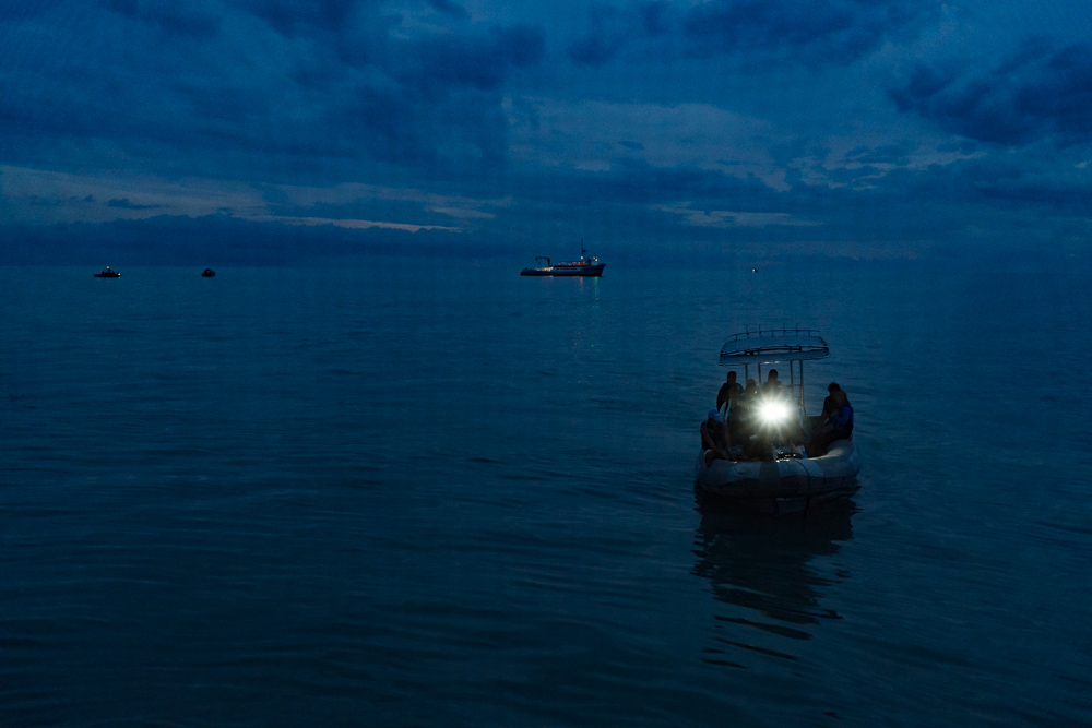 The Vaquita CPR team boat transporting scientist to the observation boat early in the morning. Observers uses binocular to spot the Vaquita,  Emre Caylak