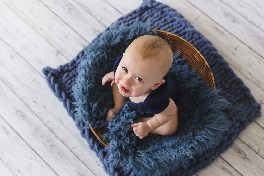 Toronto-baby-photographer-boy-sitter-session-knitted-romper-natural-light