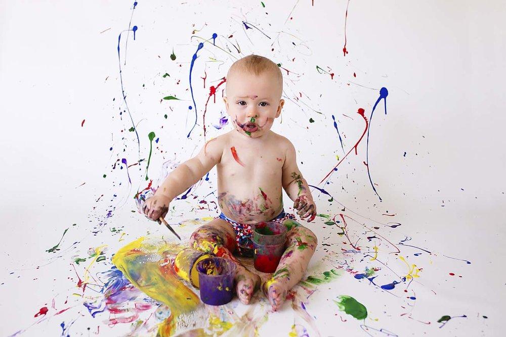 toronto-cake-smash-photographer-first-birthday-inspiration-paint-rainbow-colours-boy